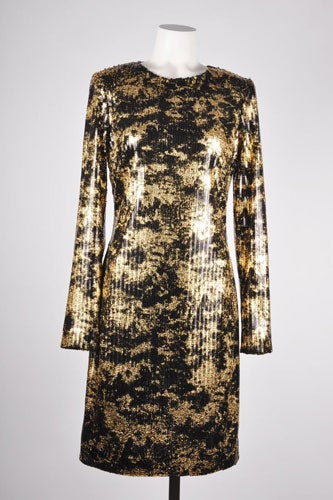 ADAM-Adam-Lippes-Black-Gold-Long-Sleeve-Sequin-Sheath-Dress