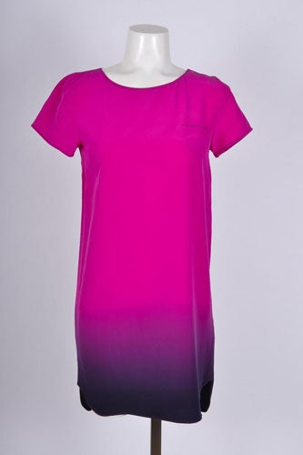 Gryphon-Fuchsia-Purple-Silk-Short-Sleeve-Dip-Dye-Shift-Dress