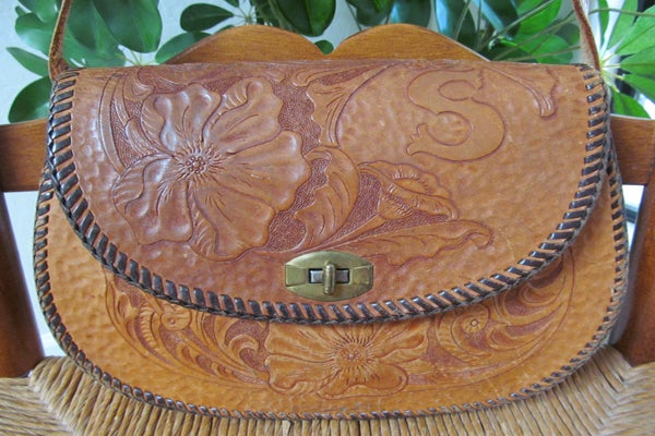 Vintage Brown Hand Tooled Genuine Leather Shoulder Bag - kareyjewels - 49.99