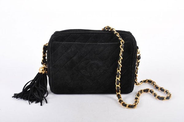 CHANEL-Black-Suede-CC-Quilted-Chain-Cross-Body-Bag-with-Tassel