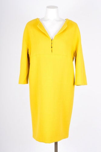 Balenciaga-Edition-Gold-Yellow-34-Sleeve-V-Neck-Dress