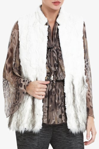 bcbg faux fur vest