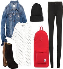 Ted Baker Booties, $250, available at Bloomingdales;    H&M Denim Jacket, $29.95, available at H&M;  rag & bone Graphic Pocket Tee,