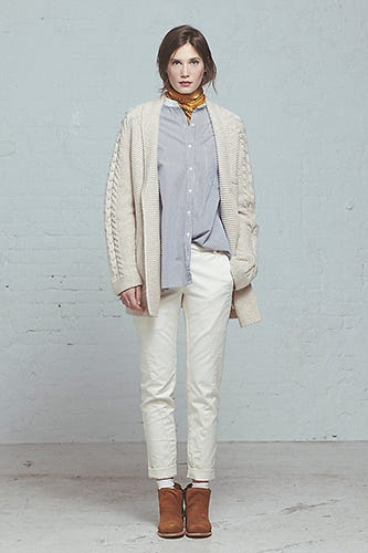 Steven Alan Warm Cozy White and chambray