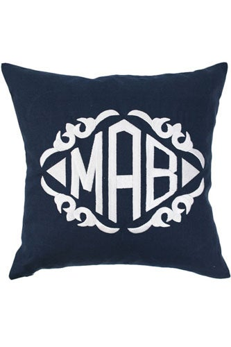 Navy Linen Throw Pillow by Luxury Monograms