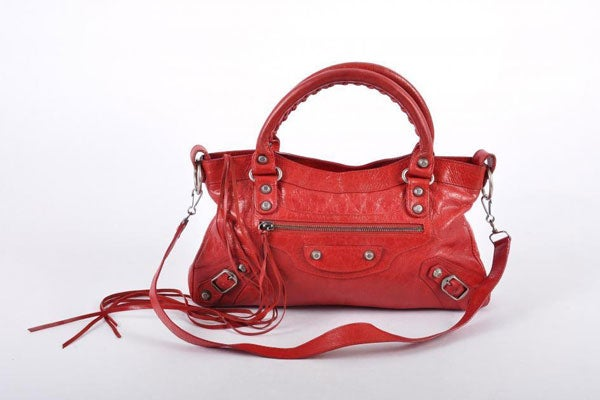 Balenciaga-Red-Distressed-Leather-Motorcycle-Shoulder-Bag