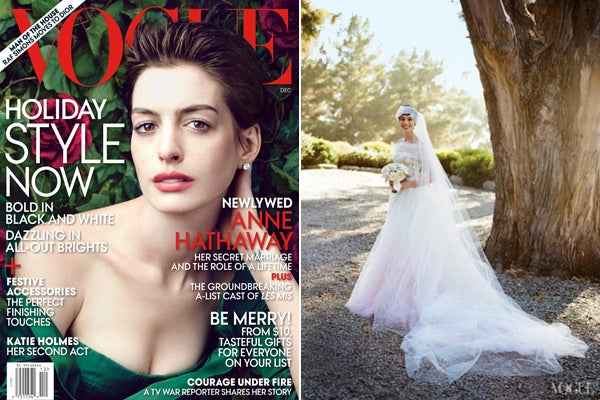Anne hathaway wedding dress celebrity weddings just when we were starting to get over our fight with anne for not inviting us to her wedding she has to bring it back up with a gorgeous junglespirit Images