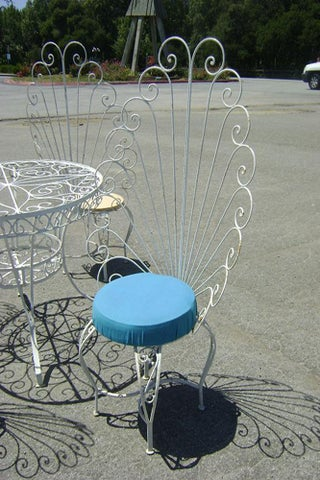 HOLLYWOOD REGENCY IRON PATIO PEACOCK CHAIRS-2