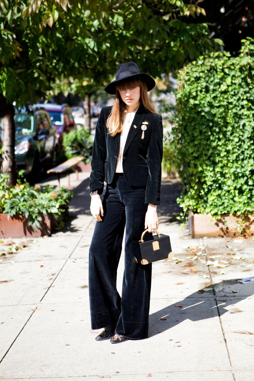 Diane wears a vintage Biba suit