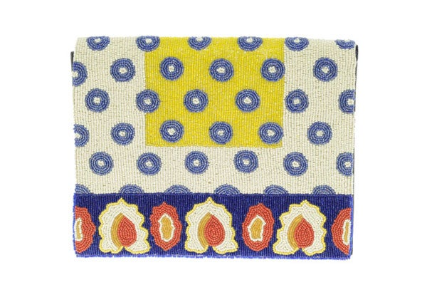 ASOS Leather Beaded Tile Effect Clutch