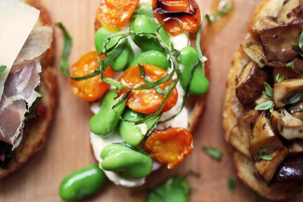 Fava Bean and Roasted Cherry Tomato Crostini
