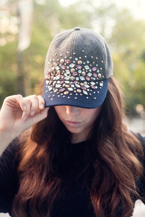 46a5232859fe8 DIY Embellished Baseball Cap - J.Crew Rhinestone Hat