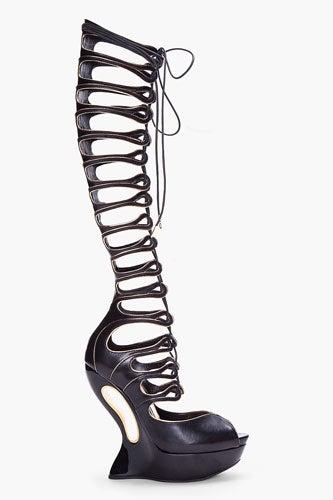 Alexander McQueen Black Knee-High Wedges